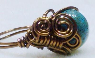 EGYPTIAN COILED CERAMIC BLUE RING By BEADING MOM JEWELRY