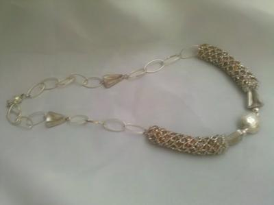 A beautiful sterling silver netted necklace, created by DesignsbyJole!